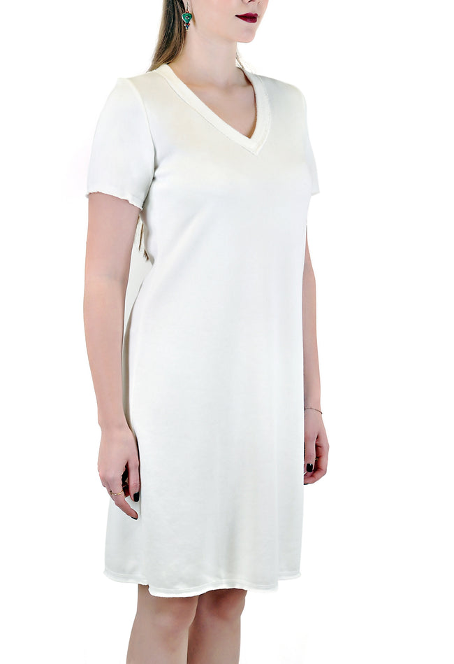 SHORT SLEEVE   V NECK DRESS