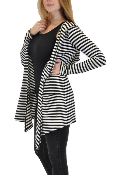 STRIPES MATRIX CARDIGAN WITH HOOD