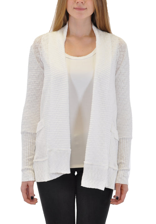 OPEN FRONT CARDIGAN WITH RIB BAND