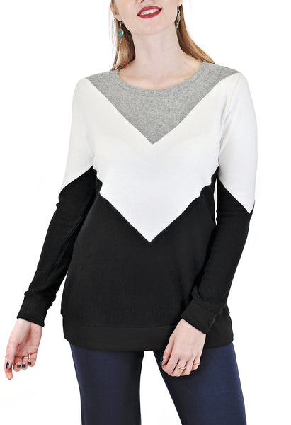 LONG SLEEVE CREW COLOR BLOCK DIAMOND PATTERN DESIGN