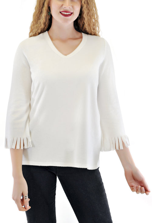 VNECK TOP 3/4 SLEEVE WITH FRINGE