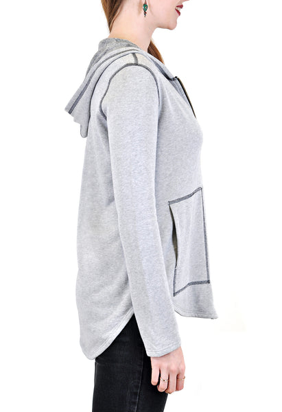 ZIP-UP HOODIE WITH CONTRAST STITCH