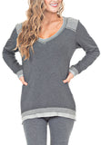 V-NECK W/ SHOULDER PATCH - PTJ TREND: Women's Designer Clothing
