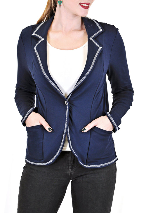 LONG SLEEVE BLAZER WITH CONTRAST STITCH DESIGN