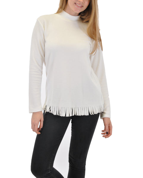 LONG SLEEVE TURTLE NECK WITH FRINGE SLEEVES