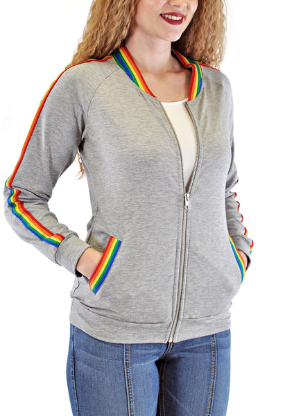 BOMBER JACKET WITH MULTI COLOR TAPE
