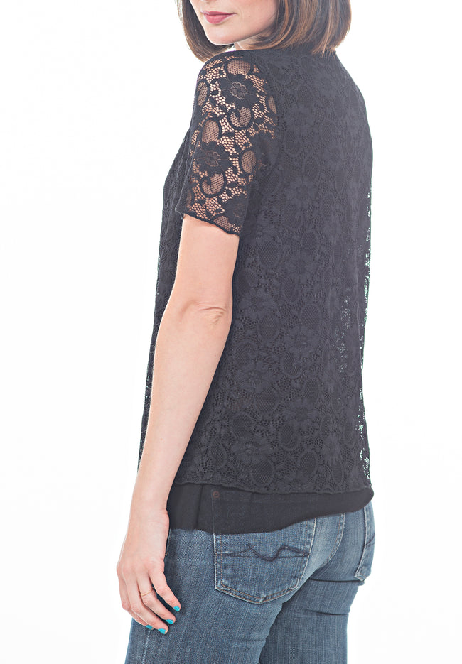 YOKE LACE TEE - PTJ TREND: Women's Designer Clothing