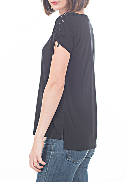 SOLID TEE W TIE LACE - PTJ TREND: Women's Designer Clothing