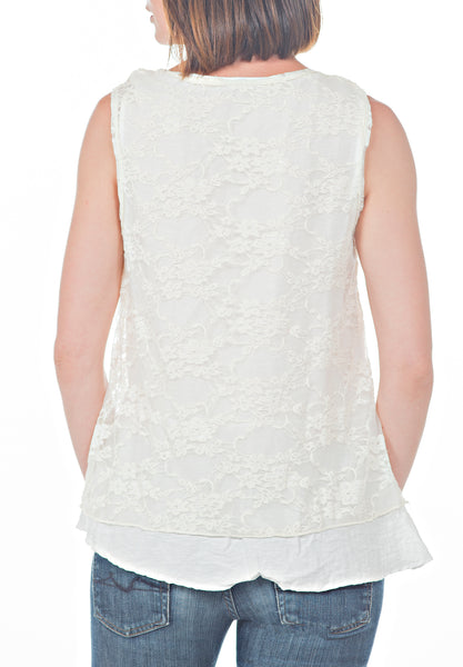 LAYERED LACE TANK - PTJ TREND: Women's Designer Clothing