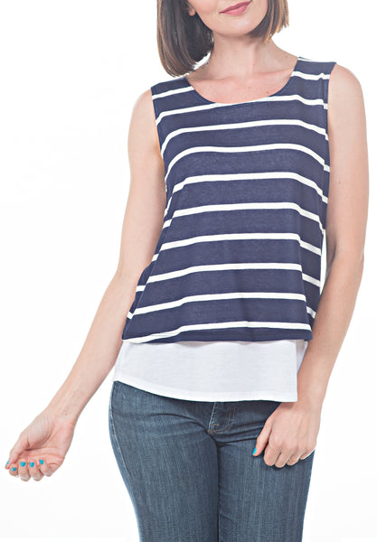 Striped Tank w Under-layer - PTJ TREND: Women's Designer Clothing