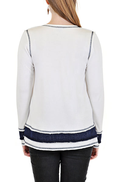 LONG SLEEVE CREW WITH CONTRAST STITCH AND LAYERED DESIGN BOTTOM