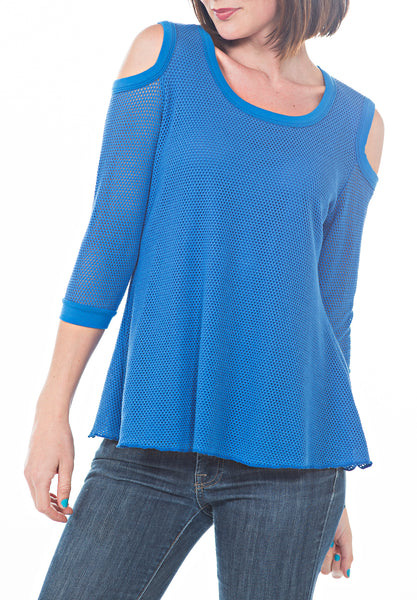 FISHNET COLD SHLDR TOP - PTJ TREND: Women's Designer Clothing
