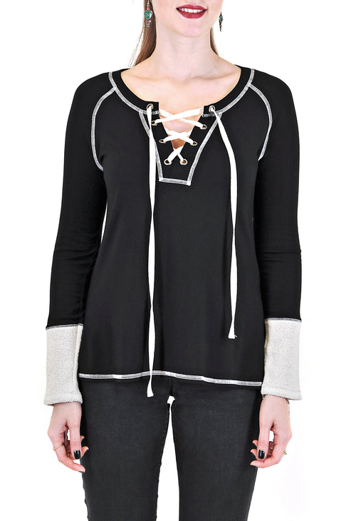 LONG SLEEVE CREW WITH LACE-UP TIE FRONT