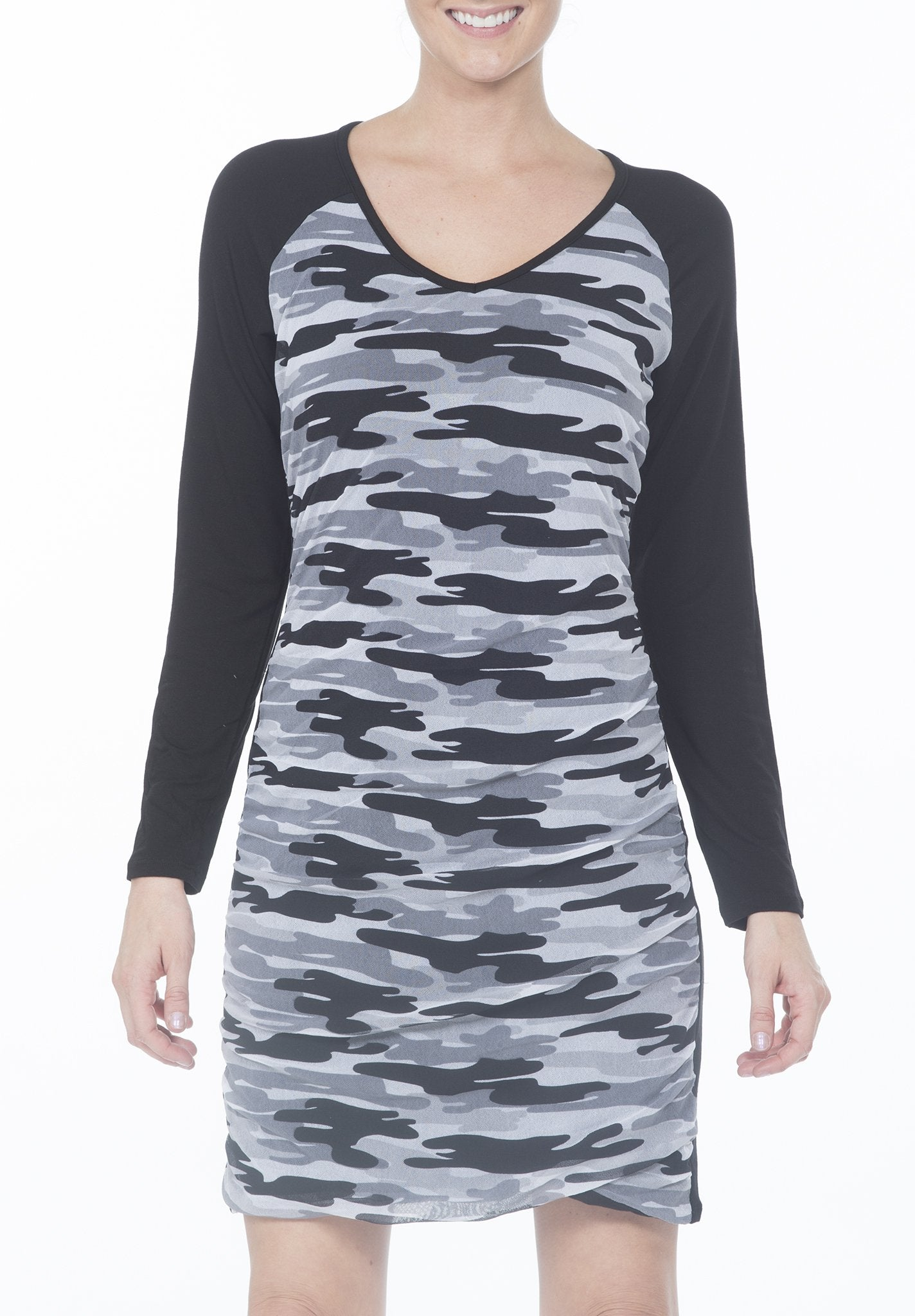 SHIRRED CAMO DRESS - PTJ TREND: Women's Designer Clothing
