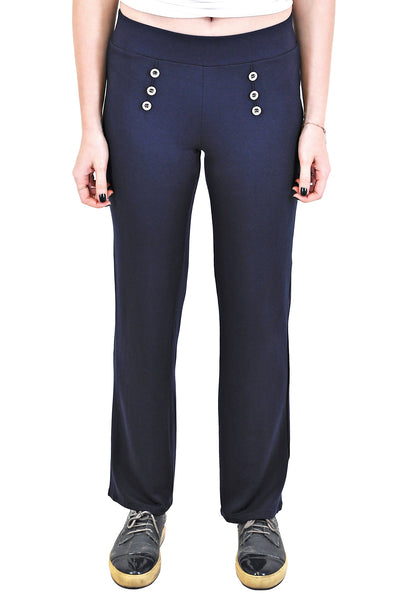 STRAIGHT LEG PANTS WITH FRONT BUTTONS