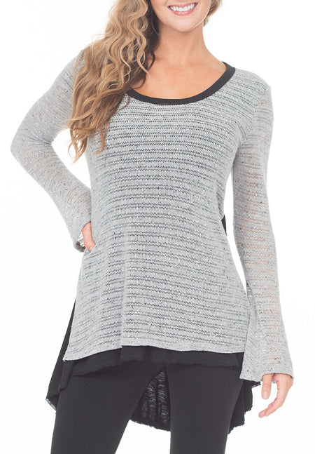 L/S SCOOP NECK DOUBLE LAYER HEM TOP