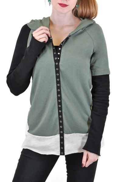 LONG SLEEVE SNAP FRONT COLOR BLOCK HOODIE