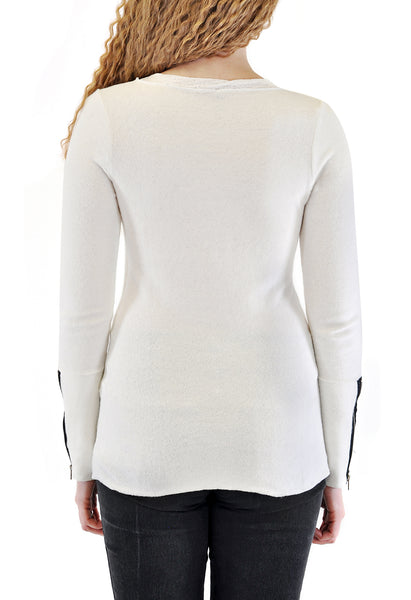 LONG SLEEVE CREW NECK WITH ZIPPER IN CUFFS LACE NECKLINE