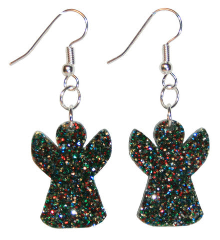 Angel Earrings, Glitter Dangle Drop Style