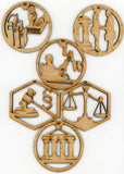 Attorney Lawyer or Legal Wooden Christmas Holiday Ornaments Decorations Set of 6