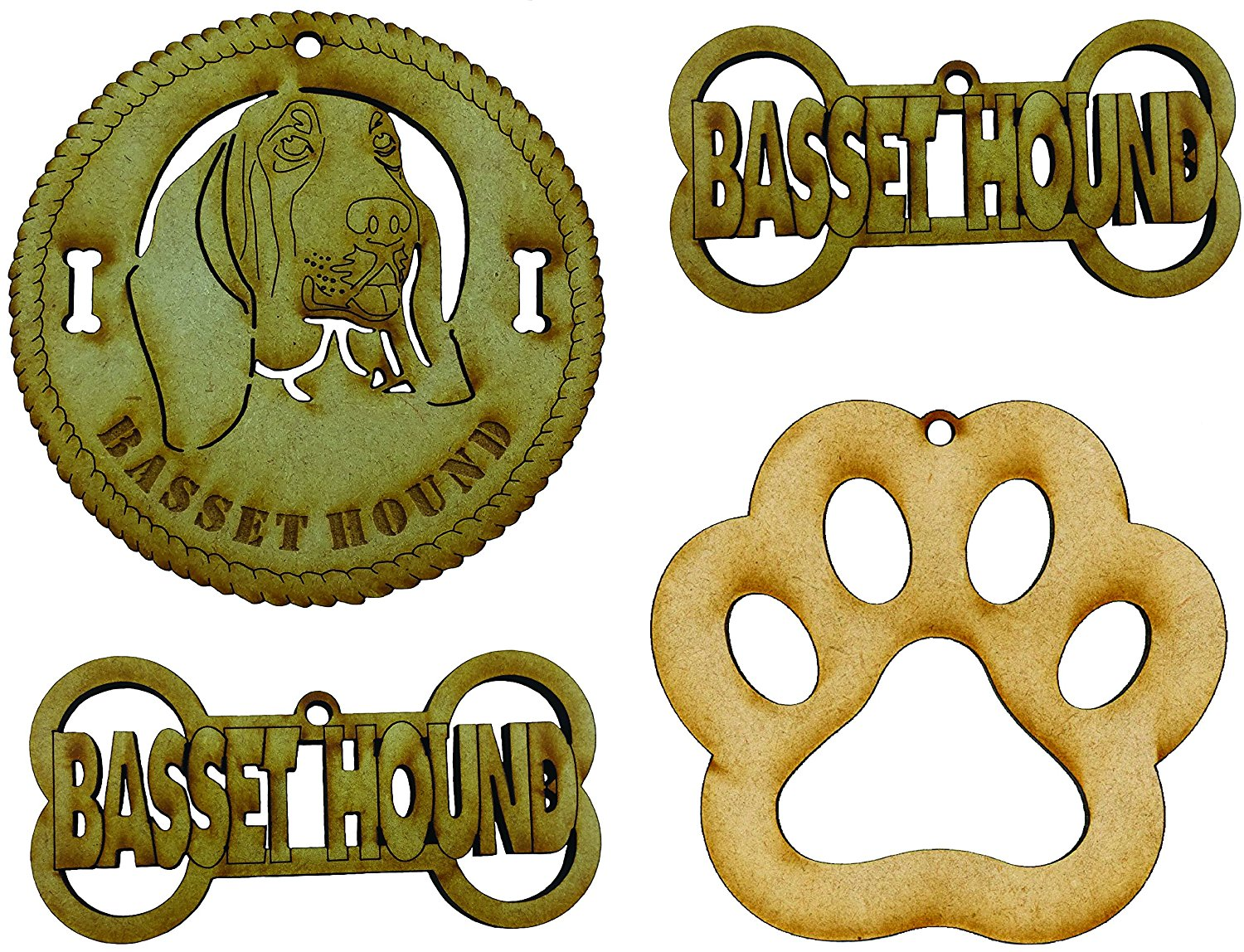 Basset Hound Dog Breed Ornaments - Set of 4