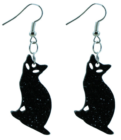Black Cat Glitter Halloween Dangle Earrings for Adults