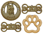 Boxer Pointy Ears Dog Breed Ornaments - Set of 4