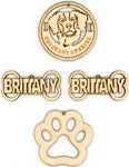 Brittany Spaniel Dog Breed Ornaments - Set of 4