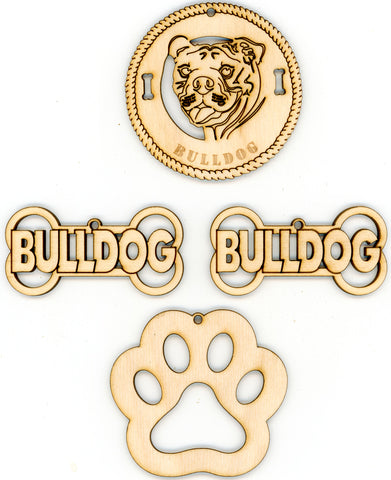 Bulldog Dog Breed Ornaments - Set of 4