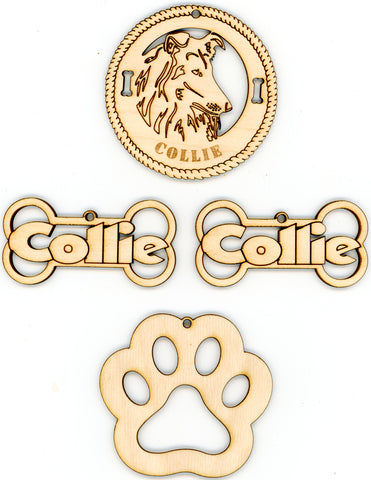 Collie Dog Breed Ornaments - Set of 4