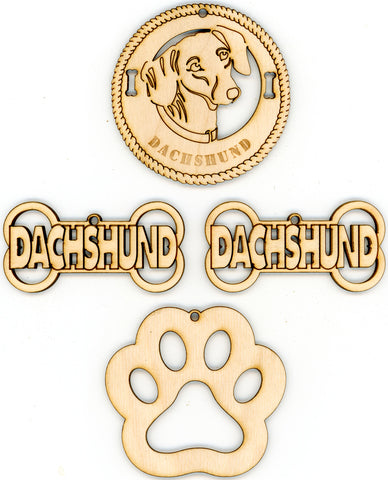 Dachshund Dog Breed Ornaments - Set of 4