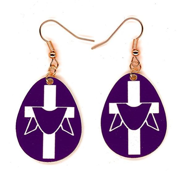 Easter Cross Dangle Earrings – Hypoallergenic- No Nickel, No Lead - For Adults