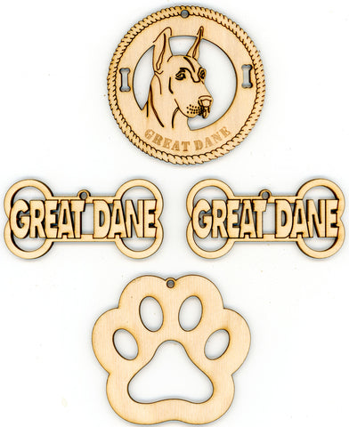 Great Dane Dog Breed Ornaments - Set of 4