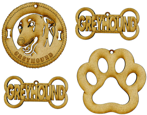Greyhound Dog Breed Ornaments - Set of 4