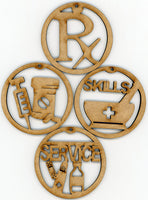 Pharmacist Wooden Christmas Holiday Ornaments Decorations Set of 4