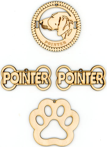 Pointer Dog Breed Ornaments - Set of 4