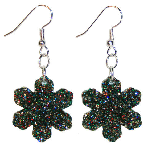 Snowflake Earrings, Dangle Style with Rainbow Glitter Pattern