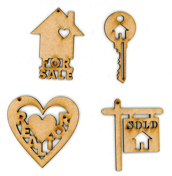 Realtor Ornament Gifts - Set of 4 - Wooden Decorative Ornaments