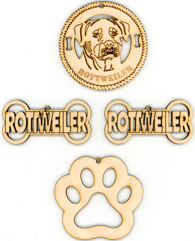 Rottweiler Dog Breed Ornaments - Set of 4