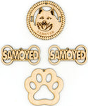 Samoyed Dog Breed Ornaments - Set of 4
