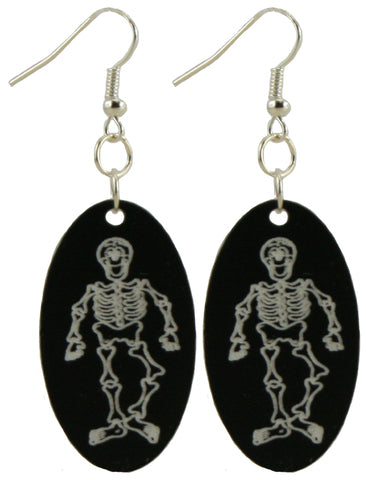 Skeleton Halloween Dangle Earrings - Hypoallergenic Silver Plated - For Adults