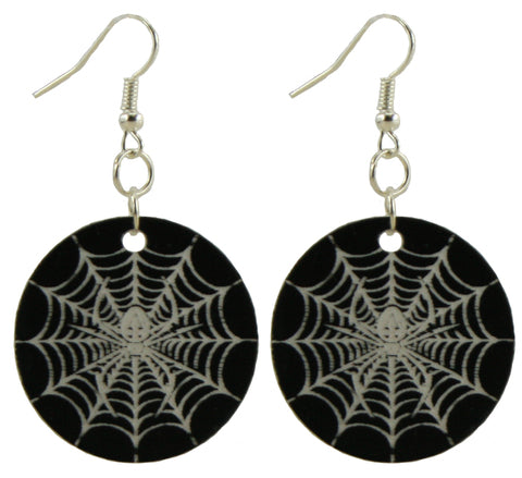 Hidden Spider and Web Dangle Halloween Earrings - Hypoallergenic Silver Plated - For Adults