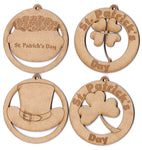 "St. Patrick's Day Ornaments 3"" Set of 4 Decorations, Gifts or Crafts- Attach to Gift Baskets, DIY Applications, or Decorate"