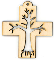 Cross Set - Tree of Life in Crosses, Set of 4 Ornaments or Decorations - Christian Decor