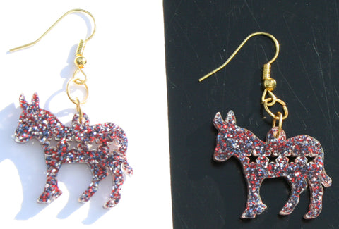 Democrat Donkey Earrings- Patriotic Political Gifts for Adults - Hypoallergenic