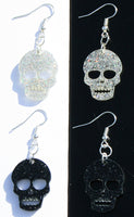 Skull Halloween Earrings - Hypoallergenic Silver Plated - For Adults