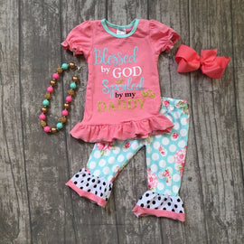 Blessed By God Capri Set with Bow and Necklace
