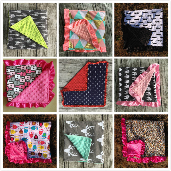 "Minky Baby Blankets 32"" x 33""~ Choose From 29 designs!!"