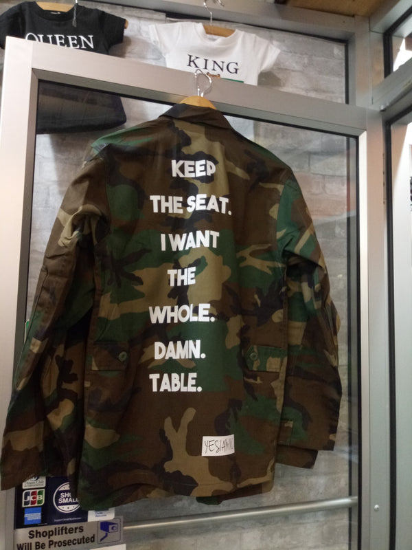 YES I AM CLOTHING | KEEP THE SEAT ARMY JACKET - DA SPOT NYC