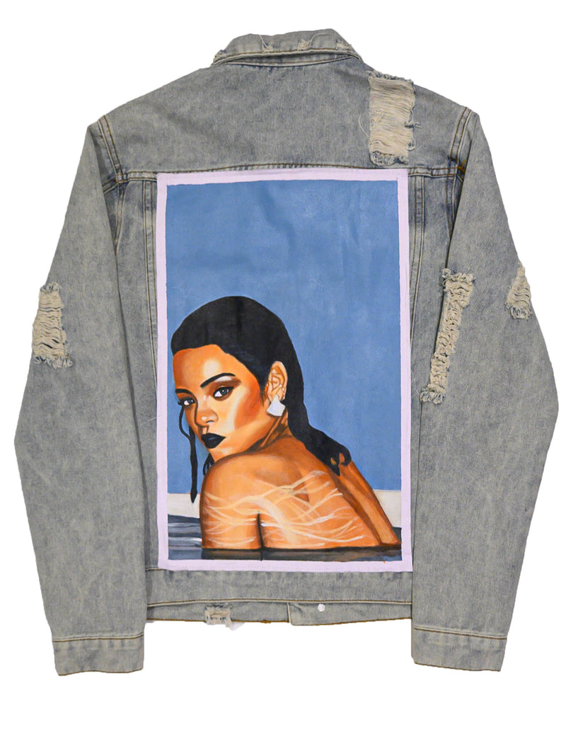 """RiRi"" Hand Painted Denim Jacket - DA SPOT NYC"